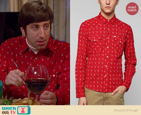 Salt Valley Lawrence Dobby Western Shirt worn by Simon Helberg on The Big Bang Theory