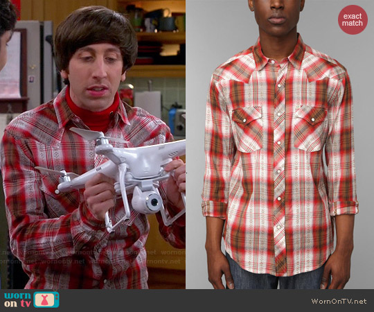 Salt Valley Ortega Dobby Plaid Western Shirt worn by Simon Helberg on The Big Bang Theory