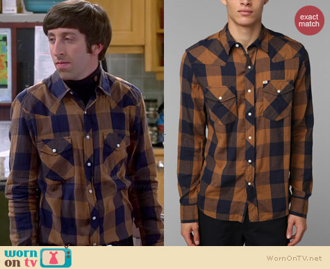 Salt Valley Buffalo Plaid Western Shirt worn by Simon Helberg on The Big Bang Theory
