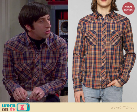 Salt Valley Carrie Wesern Shirt in Bronze worn by Simon Helberg on The Big Bang Theory