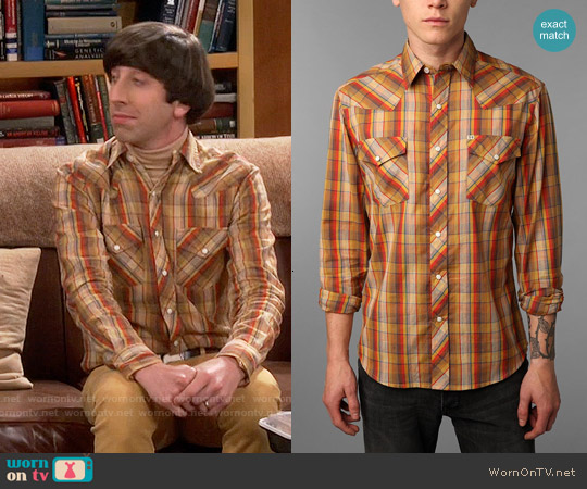 Salt Valley Chuckles Plaid Western Shirt worn by Simon Helberg on The Big Bang Theory