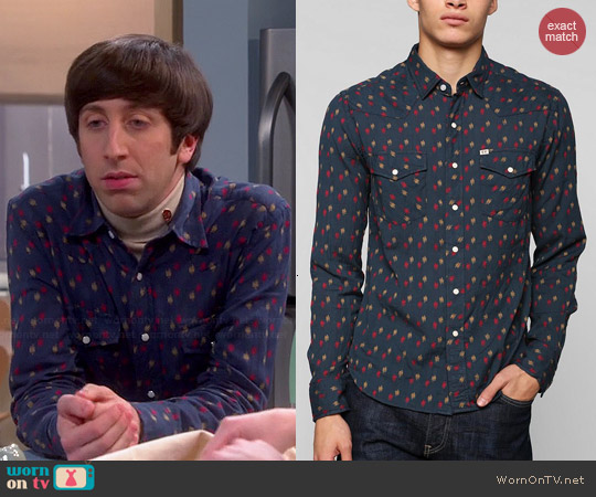 Salt Valley Lawrence Dobby Shirt in Navy worn by Howard Wolowitz on The Big Bang Theory