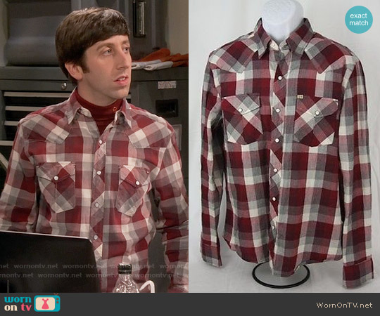 Salt Valley New Texas Plaid Western Shirt worn by Simon Helberg on The Big Bang Theory