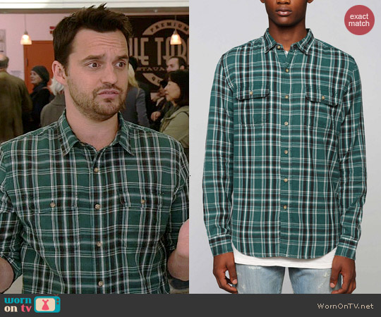 Salt Valley Osborn Plaid Shirt in Green worn by Jake Johnson on New Girl