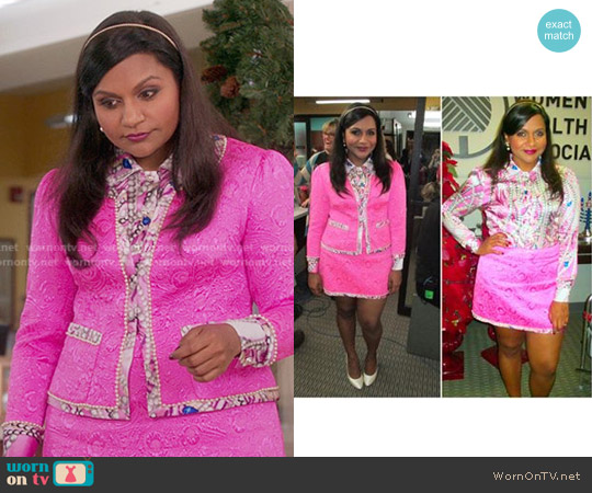 Salvador Perez Pink Custom Made Suit worn by Mindy Kaling on The Mindy Project