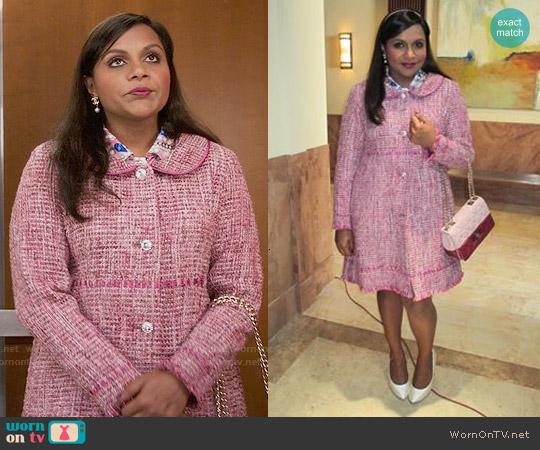 Salvador Perez Pink Tweed Peter Pan Collar Coat worn by Mindy Kaling on The Mindy Project