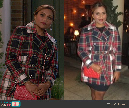 Salvador Perez Plaid Trench Coat worn by Mindy Kaling on The Mindy Project