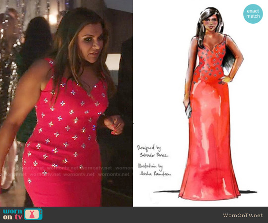 Salvador Perez Red Embellished Dress worn by Mindy Kaling on The Mindy Project