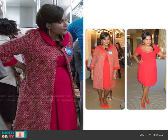 Salvador Perez Custom Made Maternity Dress and Coat worn by Mindy Kaling on The Mindy Project