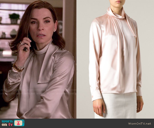 Salvatore Ferragamo Draped Collar Blouse worn by Julianna Margulies on The Good Wife