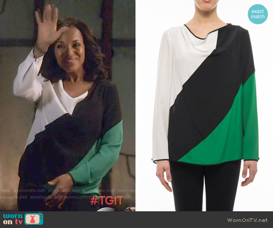 Salvatore Ferragamo Silk Colorblock Blouse worn by Kerry Washington on Scandal