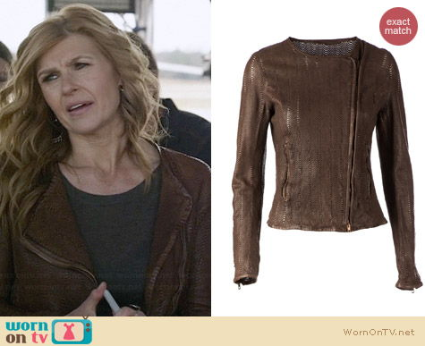 Salvatore Santoro Snake Skin Effect Biker Jacket worn by Connie Britton on Nashville