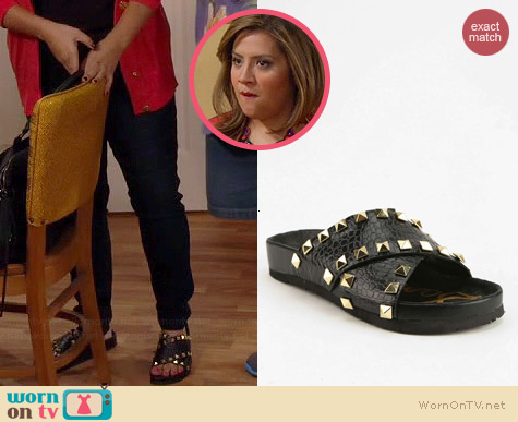 Sam Edelman Arina Studded Slide Sandals worn by Cristela Alonzo on Cristela