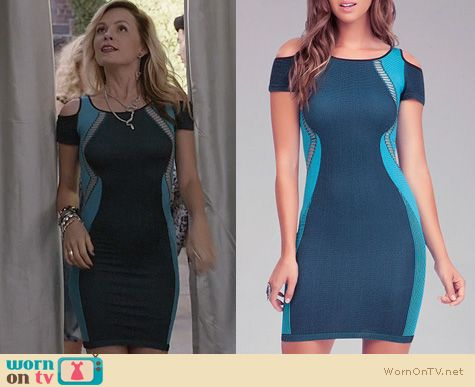 Samantha Jones Fashion: Bebe Cutout Blocked Bodycon Dress worn on The Carrie Diaries