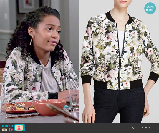 Sanctuary Flora Bomber Jacket worn by Yara Shahidi on Blackish