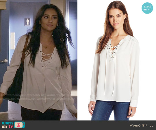 Sanctuary Lace Up Cafe Blouse worn by Shay Mitchell on PLL