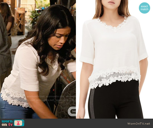 Sandro Eloire Lace Top worn by Gina Rodriguez on Jane the Virgin