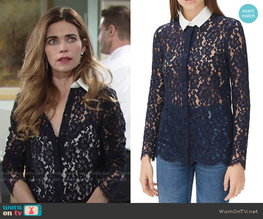 Sandro Celia Lace Shirt worn by Amelia Heinle on The Young & the Restless