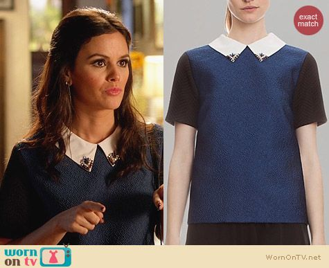 Sandro Color Block Embellished Top worn by Rachel Bilson on Hart of Dixie