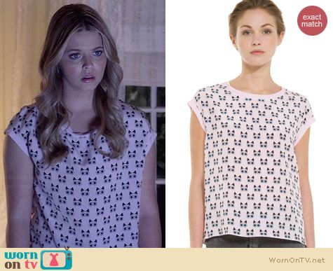 Sandro 'Chat' Cat Print Tee worn by Sasha Pieterse on PLL