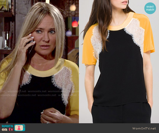 Sandro Ella Top worn by Sharon Case on The Young & the Restless
