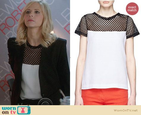 Sandro Emeraude Top worn by Sarah Michelle Gellar on The Crazy Ones