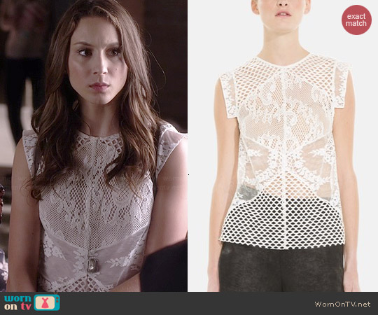 Sandro Entoure Mix Media Top worn by Troian Bellisario on PLL