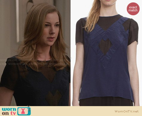Sandro Epithete Silk Top worn by Emily VanCamp on Revenge