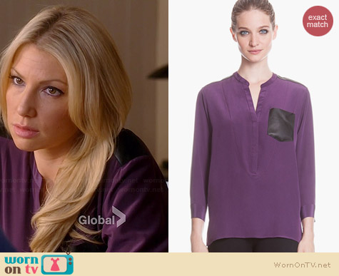 Sandro Eureka Leather & Silk Blouse worn by Ari Graynor on Bad Teacher