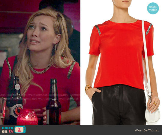 Sandro Eveil Silk Top worn by Hilary Duff on Younger