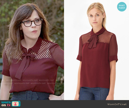 Sandro Evora Top in Burgundy worn by Zooey Deschanel on New Girl