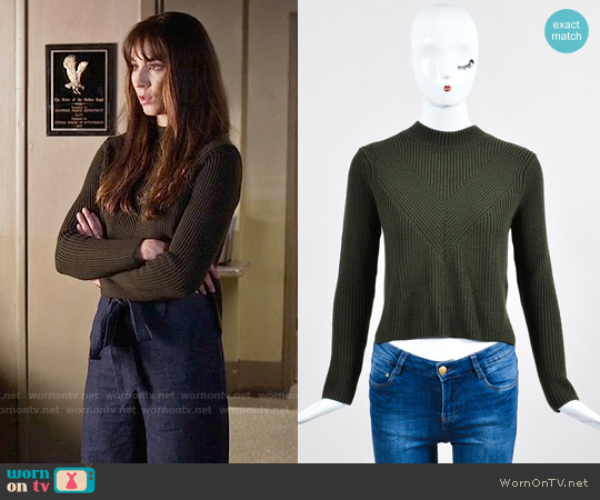 Sandro Knit Zip Back Sweater worn by Troian Bellisario on PLL
