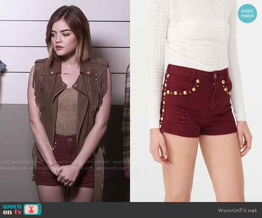 Sandro Pichi Studded Shorts worn by Aria Montgomery on PLL