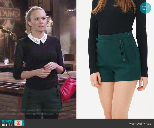 Sandro Pupy Shorts in Bottle Green worn by Abby Newman on The Young & the Restless