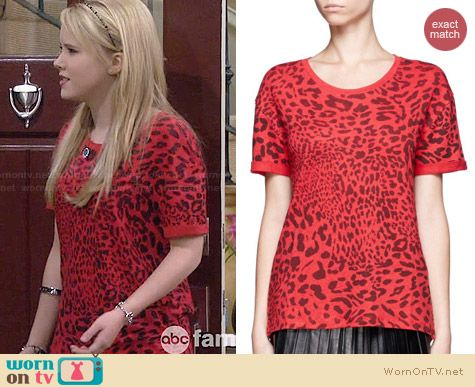 Sandro Red Leopard Print Tee worn by Taylor Sprietler on Melissa & Joey