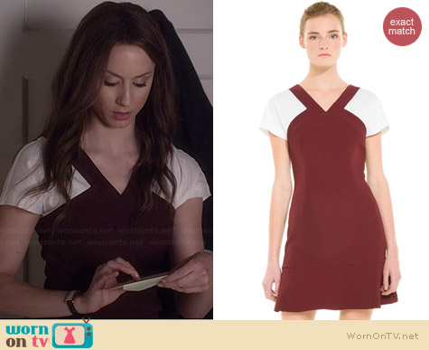 Sandro Regal Contrast Dress worn by Troian Bellisario on PLL
