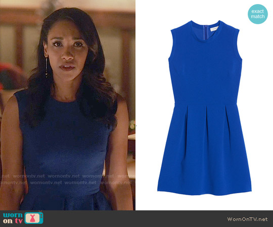 Sandro Regular Pleated Dress in Electric Blue worn by Candice Patton on The Flash