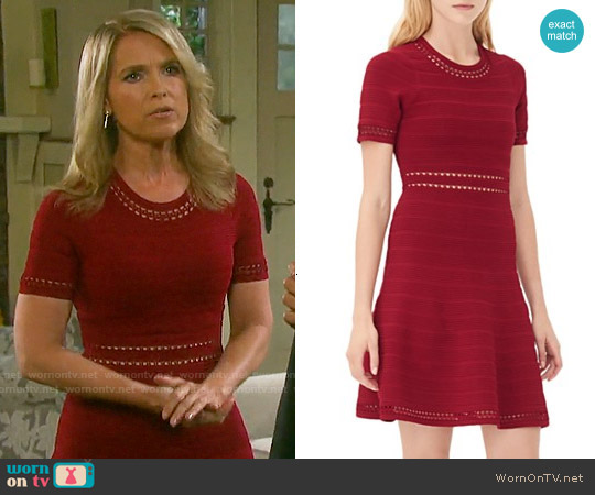 Sandro Riley Dress in Burgundy worn by Melissa Reeves on Days of our Lives