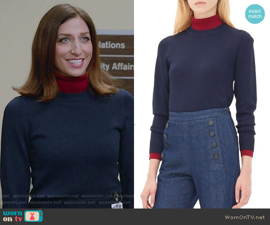 Sandro 'Siouxie' Layered Sweater worn by Chelsea Peretti on Brooklyn Nine-Nine
