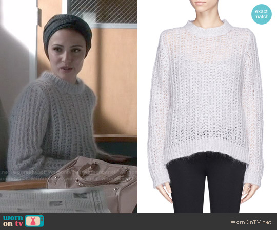 Sandro 'Stage' Mohair Open Knit Sweater worn by Italia Ricci on Chasing Life
