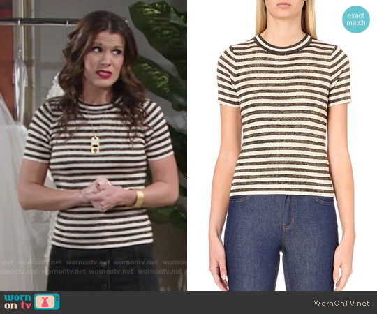 Sandro Striped Knited T-shirt worn by Melissa Claire Egan on The Young & the Restless