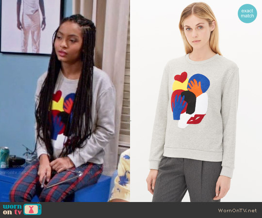 Sandro Timy Sweatshirt worn by Yara Shahidi on Blackish
