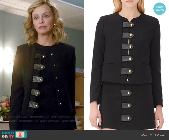 Sandro 'Vinnie' Leather Tab Jacket worn by Calista Flockhart on Supergirl