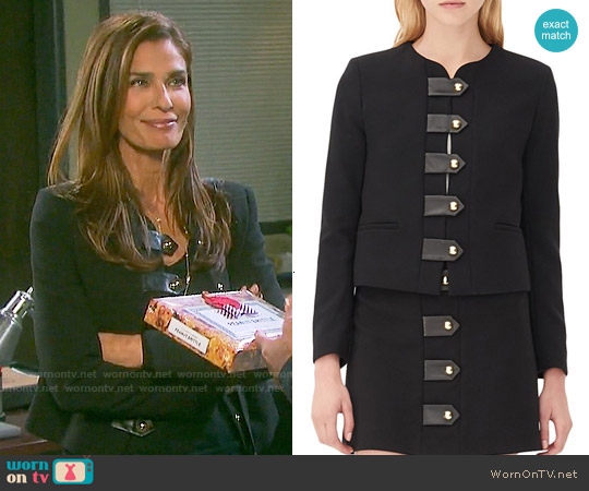 Sandro 'Vinnie' Leather Tab Jacket worn by Kristian Alfonso on Days of our Lives