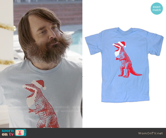 Santa T-Rex T-shirt worn by Will Forte on Last Man On Earth