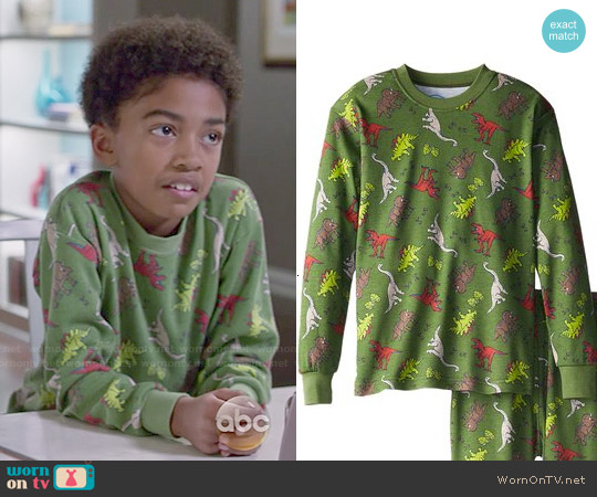 Sara's Prints Classic Two-Piece Long Pajamas in Dinosauric worn by Miles Brown on Blackish