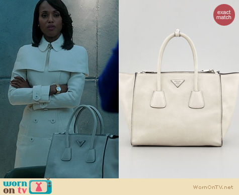 Scandal Bags: Prada White Glace Calf Twin Pocket Tote worn by Kerry Washington