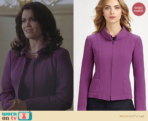 Scandal Fashion: Armani Collezioni Purple Double Faced Jacket worn by Bellamy Young