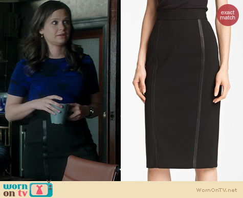 Scandal Fashion: Burberry leather trimmed pencil skirt worn by Katie Lowes