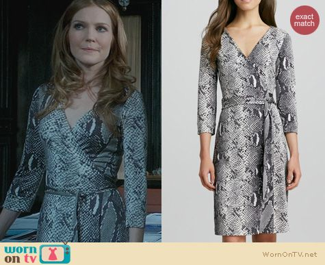 Fashion of Scandal: Diane von Furstenberg Julian Grey Snake Dress worn by Darby Stanchfield